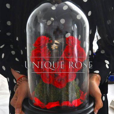 Композиция «Вечная Любовь Мини» - бутоны роз, мох и декор, сердце