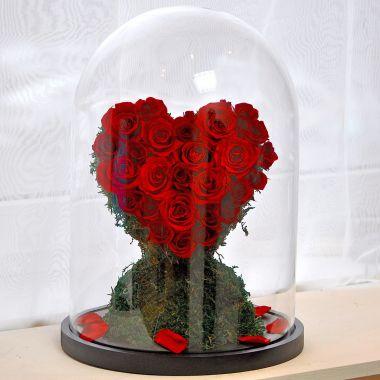 """Композиция """"Вечная Любовь"""" сердце, розы стабилизированные"""